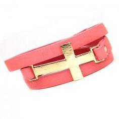Gold Cross Wrap Around Peach Leather Bracelet