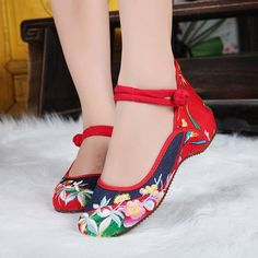 Floral Print Chinese National Wind Style Button retro Color Match Vintage Flat Shoes