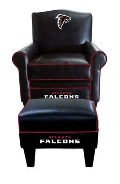 Check out this awesome Atlanta Falcons Game Time Chair & Ottoman set. It has a brand new Leather look, with a solid leather cover and� team colored microfiber welt cords.� It's a very stylish, high end look yet still featuring a comfortable large seat and high back. It's a perfect center piece for your Man Cave, Game Room, Basement or Garage.