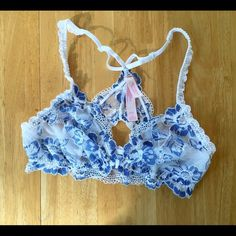 LISTING ⚜PINK VS Lace Bralette NWOTS. Blue and white lace with lining on the inside cups. Front closer, racer back style. Very soft lace. Adjustable straps. PINK Victoria's Secret Intimates & Sleepwear Bras