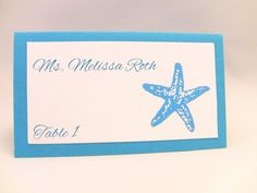 10 Wedding Place Cards Starfish Beach Wedding Place by zuCards, $8.00