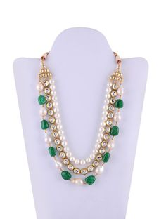 Beautiful Multi-layer Green And White Color Necklace