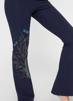 Yoga Pants, Dragonfly Graphic Print, Leggings, Dance, Cotton Lycra Blue Workout Pants, Gift for Her