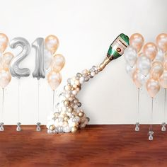 Celebrations Champagne Birthday Package Helium Balloons, Latex Balloons, Champagne Balloons, Or Rose, Rose Gold, Champagne Birthday, Birthday Packages, 21st Party, Gold Number
