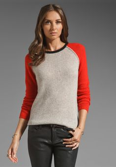 8c9252ca938 VELVET Cashmere Blend Bruna Color Block Sweater in Rope Clementine - xs -   189 Color