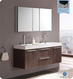 Aqua Decor Hailey 56 Inch Double Modern Bathroom Vanity Set W Medicine Cabinet Walnut Foursquare Pinterest Vanities