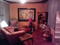 woonkamer kunst van Klimt zelf geschilderd met olieverf.