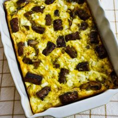 Sausage, Mushrooms, and Feta Baked with Eggs [from Kalyn's Kitchen] #SouthBeachDiet #LowGlycemic #LowCarb #GlutenFree