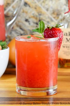 Strawberry Grapefruit Whiskey Iced Tea a light and refreshing summer cocktail. Perfect for Mother's Day, Memorial Day, Father's Day and 4th of July from Serena Bakes Simply From Scratch.