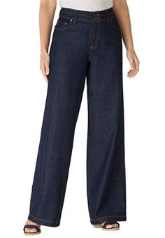 Womens Plus Size Wide Leg 100 Cotton Jean Indigo14 W * You can find more details by visiting the image link.Note:It is affiliate link to Amazon.