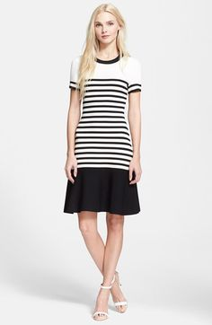kate spade new york stripe scuba drop waist dress available at #Nordstrom