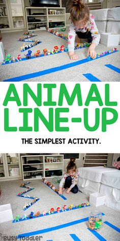 Animal Line-Up: A Quick and Easy Activity from Busy Toddler - - A quick and easy activity for toddlers and preschoolers: have them make an animal line-up. The perfect indoor activity on a rainy day from Busy Toddler. Preschool Learning Activities, Indoor Activities For Kids, Infant Activities, Educational Activities, Kids Learning, Family Fun Activities, 10 Month Old Baby Activities, Toddler Home Activities, Educational Games For Toddlers