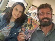 Logan & X23 with the Comic Book that sparks their journey.