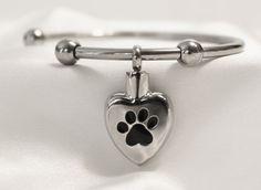 Stainless Steel Pet Paw Print Cremation Keepsake Charm Bracelet with Fill Kit. Charm Bracelet