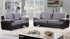 Demetra Modern Bonded Leather and Microfiber Sofa and Loveseat Set