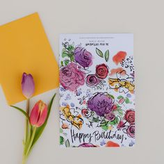 Single Watercolor Flowers Happy Birthday Card by anopensketchbook