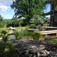 Piscine écologique : découvrez les plus beaux modèles - Marie Claire Parcs, Garden Bridge, Outdoor Structures, Outdoor Decor, Home, Showroom, Gardens, Pool Spa, Water Garden