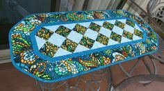 Table Runner Quilted Art Glass Turquoise 611 by QuiltinWaYnE