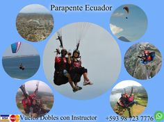 Enjoy the beautiful scenery offered by the Ecuador from its skies paragliding , an adventure sport . It can be a dynamic flight with the wind from the sea on the beaches , or a flight with thermal heat is rising from the earth which happens in Guayaquil and parts of the saw. We offer fly in Canoa , Crucita , Puerto Lopez , Montañita , Guayaquil , Ibarra , Baños , Cuenca, Quito. You choose where your flight make paragliding , I hope !