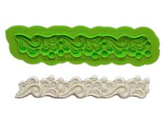 Dimensions: 6.25 L x 1 W Lydia is a Silicone Lace Border Mold that uses cabochons, swirls and  refined detailed ele