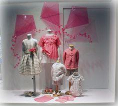 Pink and kites window display