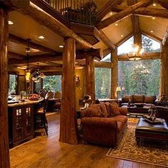 awesome log cabins with log post inside house Log Cabin Living, Log Cabin Homes, Log Cabins, Rustic Cabins, Interior Exterior, Interior Architecture, Luxury Interior, Interior Design, Mansion Interior