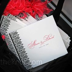 wedding programs in black and white with  red accents