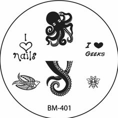 BM-401 Octopus tentacles Ursula I heart nails sparrow bee I heart geeks nail stamping plate