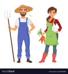 Farmers man and woman character vector image on VectorStock Young Farmers, Female Farmer, Animated Cartoons, Free Vector Graphics, Street Art Graffiti, Character Illustration, Cartoon Styles, Female Characters, Cute Drawings