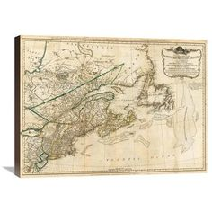 "Global Gallery A General Map of the Northern British Colonies in America, 1776 by Robert Sayer Graphic Art on Wrapped Canvas Size: 22"" H x 30"" W x ..."
