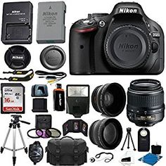 Amazon.com : Nikon D5200 24.1 MP CMOS Digital SLR Camera (Black) 18-55mm f/3.5-5.6G VR AF-S DX Zoom Autofocus Lens + 2x Professional Lens + HD Wide Angle Lens + 16GB Bundle International Version (No Warranty) : Camera & Photo