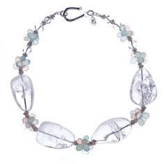 Crystal Quartz with Pink and Aqua Chalcedony Necklace | From a unique collection of vintage more necklaces at http://www.1stdibs.com/jewelry/necklaces/more-necklaces/