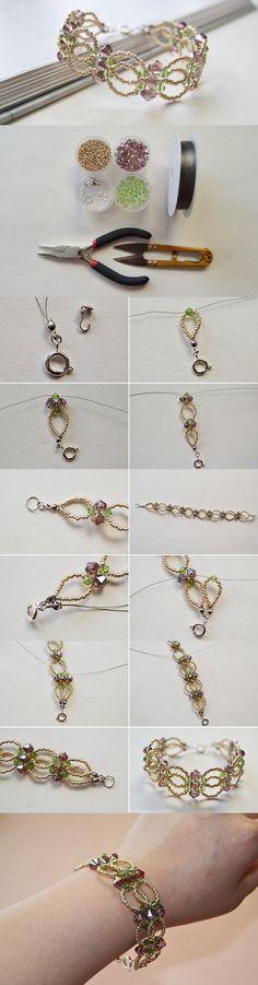 DIY Handmade Flower Bracelet with Seed Beads and Glass Beads #tutorial #bracelet #beadsbracelet #pandahall
