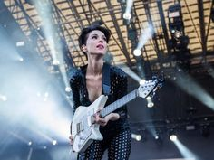 St. Vincent (Annie Clark) performs on the second day of the 2015 edition of the Osheaga music festival at Jean-Drapeau park in Montreal on Saturday, August 1, 2015.