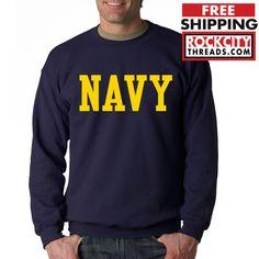 NAVY BLOCK CREW NECK GOLD Sweatshirt Military Blend Seal US U.S.NAVY USNAVY #RockCityThreads #SweatshirtCrew