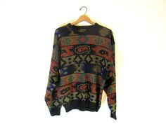 Vintage 1980s tribal print knit oversized by dirtybirdiesvintage, $28.00