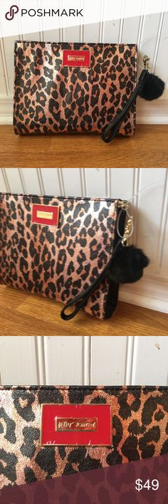 Betsey Johnson Metallic Leopard Clutch Wristlet Betsey Johnson Clutch Wristlet Metallic Leopard Print Black Faux Fur Charm NWT Two interior slip pockets and a zipper compartment. Betsey Johnson Bags Clutches & Wristlets