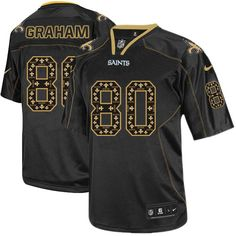 Elite Men's Nike New Orlean's Saints #80 Jimmy Graham New Lights Out Black NFL Jersey $129.99