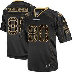 Elite Men's Nike New Orlean's Saints #80 Jimmy Graham New Lights Out Black NFL Jersey $129.99
