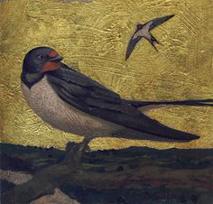 """Two Swallows Do Make a Summer. Acrylics and gilding on wood panel. 7""""x7"""""""