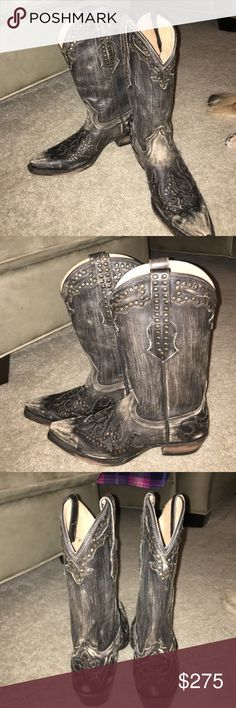 Stetson Distressed Black Boots with Beading Detail Beautiful, distressed black Stetson cowboy boots with beaded detailing and stitching. Never worn, in perfect condition. These are beautiful but not my size. Unfortunately, I do not have the boot box, however I have the paper inserts sold with the boots. Stetson Shoes