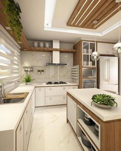 Cozinha lindíssima by Ana Marangoni (… Hello domingo! ✌☘ Cozinha lindíssima by Ana Marangoni ( Source [New] The 10 Best Home Decor (with Pictures) - Hello domingo! Cozinha lindíssima by Ana Marangoni ( What I call the kitchen is completely and c Kitchen Ceiling Design, Kitchen Room Design, Kitchen Cabinet Design, Home Decor Kitchen, Interior Design Kitchen, Kitchen Furniture, Home Kitchens, Diy Kitchen, Kitchen Ideas