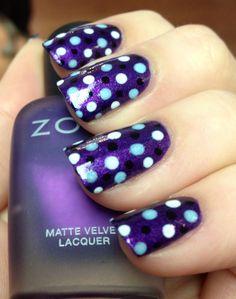 purple nail white black n light blue polka dots