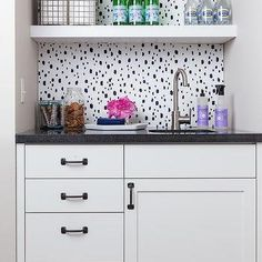 Wet Bar Nook with Black Spotted Wallpaper