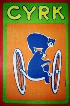 Polish Circus Poster. Designer: Zdzislaw Horodecki. Year: 1970. Title: 2 Traveling Bears.