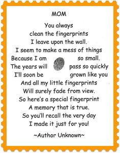 finger print poem – to go with our mothers day gifts