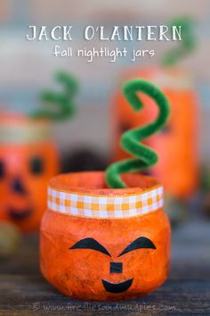 Jack O'Lantern Fall Nightlight Jars | Fireflies and Mud Pies