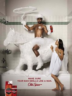 This Old Spice campaign was hyper-masculine to a comedic extent but still reinforced a narrow version of what it means to me (and smell like) a man. Also implied is that to be a real man is to be straight. Creative Advertising, Ads Creative, Print Advertising, Advertising Campaign, Print Ads, Funny Advertising, Online Marketing, Content Marketing, Guerrilla Marketing