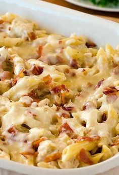 Recipe for Chicken-Bacon-Ranch Baked Penne - Pasta is infinitely better packed with cheese and baked into a creamy casserole. File this under the definition of comfort food!