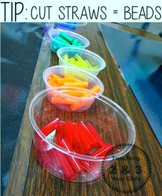 SIMPLE THREADING IDEA! Younger fingers can hold cut straws more easily and it works their pincer grasp.   http://www.teaching2and3yearolds.com/2014/03/simple-threading-for-kids.html  This method is easier for those smaller fingers and works the pincer grasp. Younger children love it!